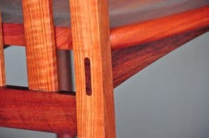 Chair detail showing through tenon on a Solid Pod chair