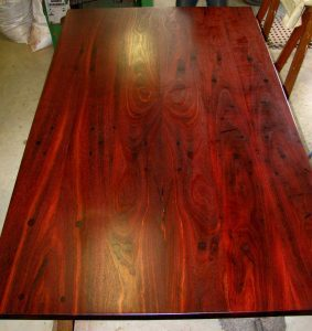 Table top from recycled jarrah