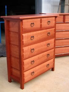 Chests of drawers, lighter jarrah