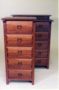 Tallboy and chests of drawers, jarrah